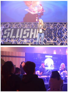 メインステージに立つcamarilla Founder&CEOのConstance Scholtenさん(写真上)がslush cafeで質問に答える(写真下)