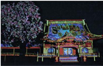 葛飾柴又の景観をマッピングで演出 ー タケナカ